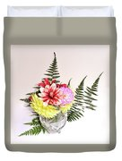 Dahlia Vase Still Life Duvet Cover