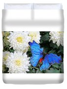 Dahlias And The Butterfly Duvet Cover