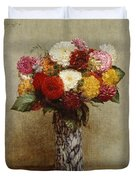Dahlias In A Chinese Vase Duvet Cover