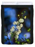 Dainty Wildflowers On Blue Bokeh By Kaye Menner Duvet Cover
