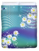 Daisies And Butterflies On Blue Background Duvet Cover