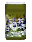 Daisies And Lupine Duvet Cover