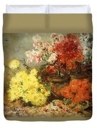 Daisies, Begonia, And Other Flowers In Pots Duvet Cover