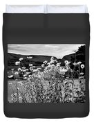 Daisies By The Roadside At Loch Linnhe B W Duvet Cover