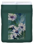 Daisies In The Blue Duvet Cover