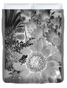 Daisy Bouquet In Black And White Duvet Cover