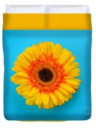 Daisy - Yellow - Orange On Light Blue Duvet Cover