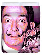 Dali With Ocelot And Cane Duvet Cover
