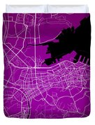 Dalian Street Map - Dalian China Road Map Art On A Purple Backgro Duvet Cover