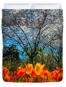 Dallas Arboretum Tulips And Cherries Duvet Cover