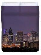Dallas Skyline At Night Pano Duvet Cover