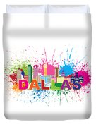 Dallas Skyline Paint Splatter Text Illustration Duvet Cover