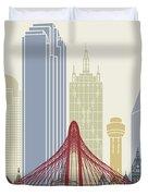Dallas Skyline Poster Duvet Cover