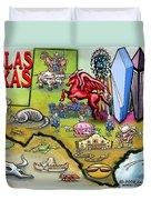 Dallas Texas Cartoon Map Duvet Cover