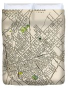 Dallas Texas Map 1899 Duvet Cover