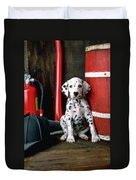Dalmatian Puppy With Fireman's Helmet  Duvet Cover by Garry Gay