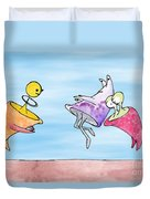 Dance Party Monsters Watercolor Duvet Cover