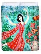 Dancer In Red Sari Duvet Cover