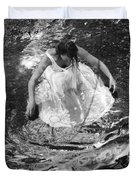 Dancer In White Dress In Shallow Water Duvet Cover