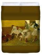 Dancers In The Green Room Duvet Cover by Edgar Degas