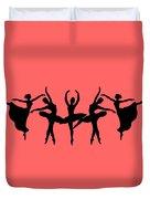 Dancing Ballerinas Silhouette Duvet Cover