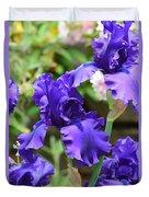 Dancing Blue Irises Duvet Cover