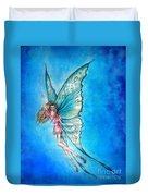 Dancing Fairy In Blue Sky Duvet Cover