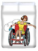 Dancing Girl In A Wheelchair Duvet Cover