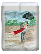 Dancing In The Rain On The Beach Duvet Cover