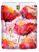 Dancing Poppies Galore Watercolor Duvet Cover