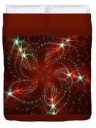 Dancing Red Flower Star In Motion Duvet Cover