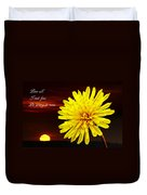 Dandelion Against Sunset With Inspirational Text Duvet Cover