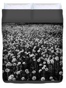 Dandelion Field In Black And White Duvet Cover