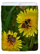 Dandelions And Bees Duvet Cover