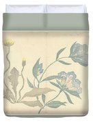 Dandelions And Blue Flowers, Nakamura Hochu, 1826 Duvet Cover