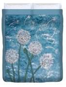 Dandelions Blowing In The Wind Duvet Cover