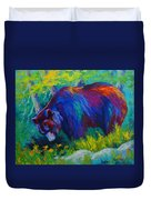 Dandelions For Dinner - Black Bear Duvet Cover