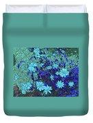 Dandy Digital Daisies In Blue Duvet Cover