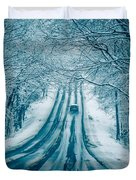 Dangerous Slippery And Icy Road Conditions Duvet Cover