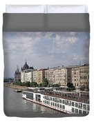 Danube Riverside With Old Buildings Budapest Hungary Duvet Cover