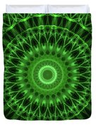 Dark And Light Green Mandala Duvet Cover