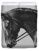 Dark Brown Dressage Horse Black And White Duvet Cover