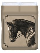 Dark Dressage Horse Aged Photo Fx Duvet Cover