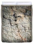 Dark Fissures On Limestone Rock Duvet Cover