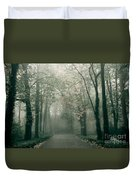 Dark Gloomy Alley In Woods Duvet Cover