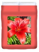 Dark Orange Red Lily Duvet Cover