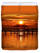 0209 Dark Orange Sunrise On Sound Duvet Cover