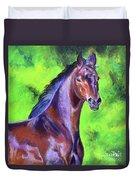 Dark Red Bay Horse Duvet Cover