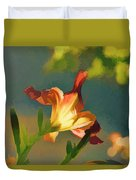 Dark Red Day Lily With Sun Shining Through I Abstract I Duvet Cover