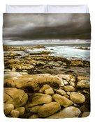 Dark Skies On Ocean Shores Duvet Cover